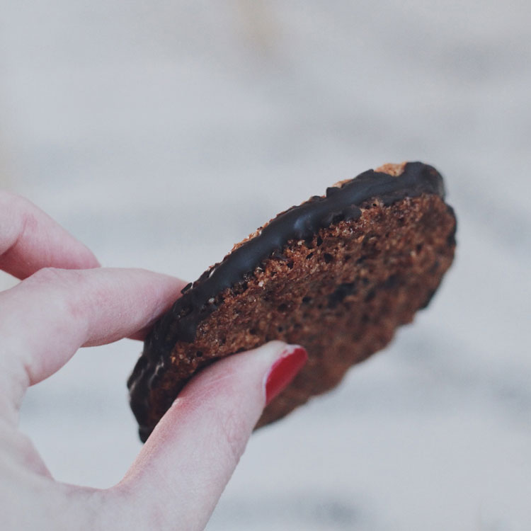 Oat cookie with chocolate