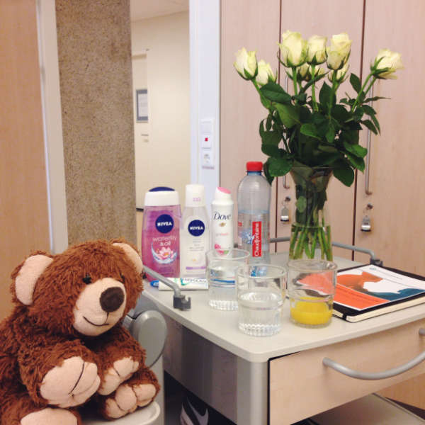 My bedside table in the hospital